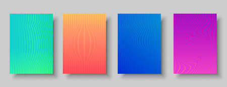 Abstract background collection, set of minimalist halftone gradient design with colorful lines and distorted shapes. EPS10 vector. Illustration