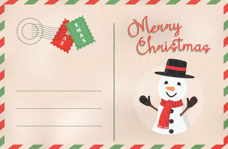 Merry Christmas vintage greeting card in traditional postcard mail style. Holiday design with cute snowman cartoon.EPS10 vector.