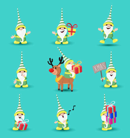 Christmas holiday set of cute elf character cartoons in different poses and emotions. Includes reindeer, funny expressions, gift boxes. EPS10 vector.