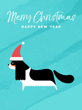 メリー クリスマスと幸せな新年休日グリーティング カード イラスト。サンタ クロースの帽子とキャバリア ・ キング ・ チャールズ ・ スパニエル