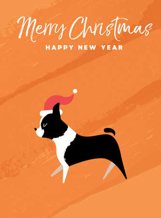 Merry Christmas and Happy New Year holiday greeting card illustration.Boston Terrier dog with Santa Claus hat.EPS10 vector.