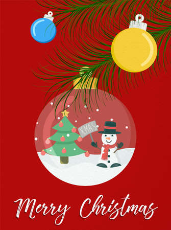 Merry Christmas greeting card snow globe ornament illustration for holiday season. Funny winter snowman character and typography quote.