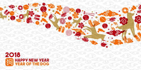 Chinese new year of the dog 2018 greeting card illustration with traditional asian culture icons and symbols.