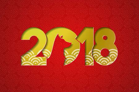 Chinese new year of the dog 2018 greeting card with gold paper cut illustration and traditional asian style background. Illustration