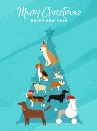 メリー クリスマス新年の楽しい休日のグリーティング カード クリスマス パイン ツリー図形を作る犬のイラスト。パグ、プードル、柴犬、ビーグル