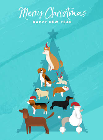Merry Christmas Happy New Year fun holiday greeting card illustration of dogs making xmas pine tree shape. Includes pug, poodle, shiba inu, bulldog and beagle breeds.