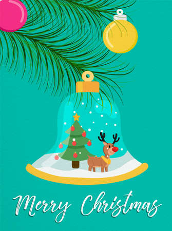 Merry Christmas greeting card snow globe illustration for holiday season. Reindeer inside bell ornament with xmas pine tree and typography quote. Illustration