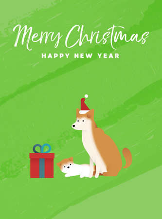 メリー クリスマスと幸せな新年休日グリーティング カード イラスト。柴犬柴犬とカラフルなテクスチャ背景の子犬。  イラスト・ベクター素材