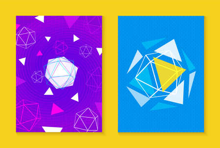 Set of abstract retro fashion style designs with halftones, gradients and shapes. Illustration