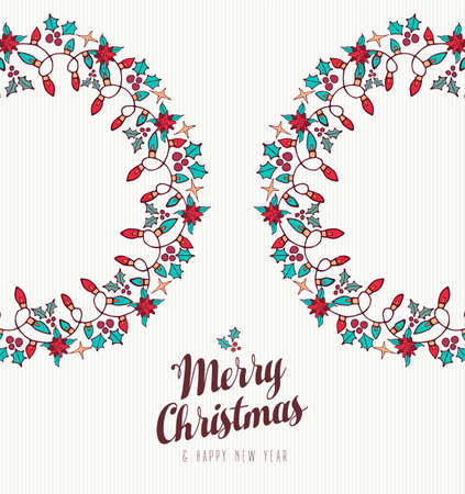 Merry Christmas and Happy New Year hand drawn greeting card design with wreath shape holiday nature ornament decoration icons. EPS10 vector.   Illustration