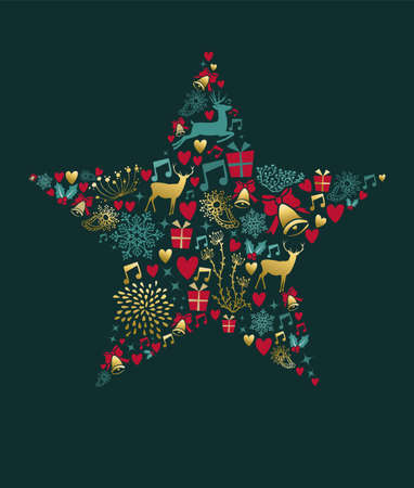 Merry Christmas greeting card design, holiday elements in gold vintage style making star shape. EPS10 vector. Ilustrace