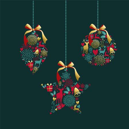 メリー クリスマス豪華な黄金の飾りボール図形鹿とビンテージのアイコン装飾です。クリスマス グリーティング カードまたはエレガントなパーテ
