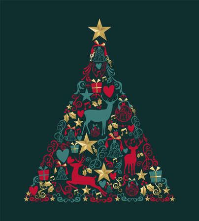 Albero di pino di buon Natale con cervi d'oro ed elementi vintage. Ideale per auguri di Natale o elegante invito a una festa. Eps10 vettoriale Archivio Fotografico - 91532442