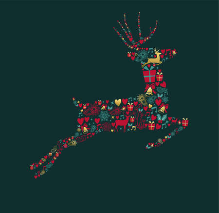 Merry Christmas Happy New Year greeting card design, holiday elements in gold vintage style making reindeer shape.