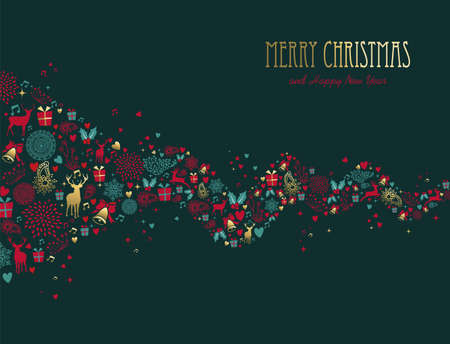 Merry Christmas Happy New Year decoration in gold color with deer and holiday elements. Ideal for Xmas greeting card, event invitation or poster. EPS10 vector.