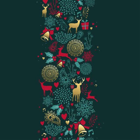 Merry Christmas seamless pattern with gold deer and vintage decoration for holiday season background. EPS10 vector.