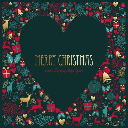 Joyeux noël et nouvel an décoration vintage avec le cerf d & # 39 ; or et des ornements de vacances dans forme de coeur Banque d'images - 91493614