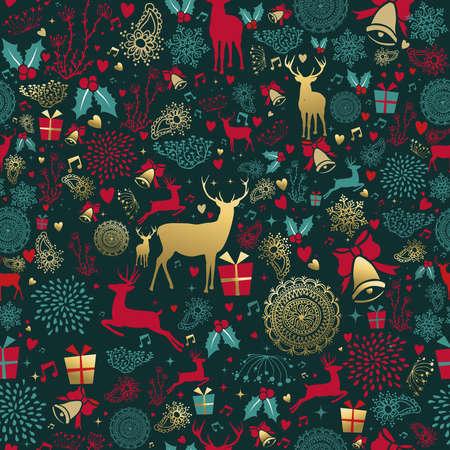 Feliz Natal sem costura padrão com cervos de ouro e decoração vintage para fundo de temporada de férias. Vetor EPS10.