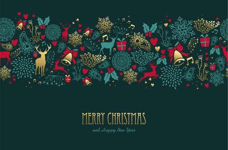 Modello dorato d'annata del buon anno di Buon Natale con gli elementi dei cervi e di festa. Archivio Fotografico - 91493623
