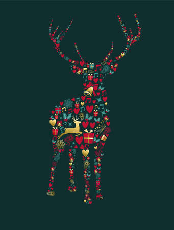 Merry Christmas Happy New Year greeting card design, holiday elements in gold vintage style making reindeer shape. EPS10 vector. Illustration