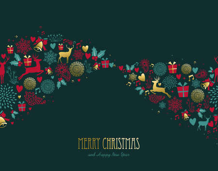 Merry Christmas and New Year vintage winter decoration with gold deer and holiday ornaments. EPS10 vector.