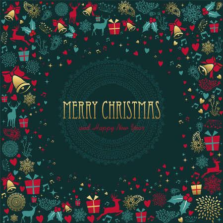 Decorazione di buon Natale e felice anno nuovo in colore oro con elementi di cervo e festività. Ideale per auguri di Natale, invito a eventi o poster. Eps10 vettoriale Archivio Fotografico - 91532528