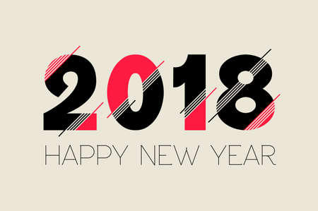 Happy New Year 2018 typography number design, modern quote ideal for greeting card or holiday party invitation. Illusztráció