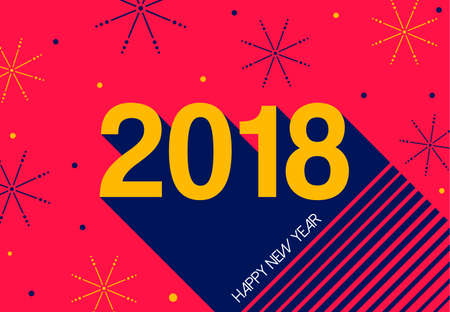happy new year 2018 typography greeting card holiday text quote with colorful firework explosion shapes