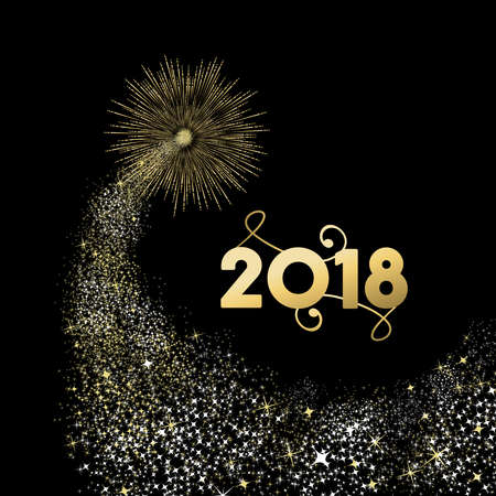 Happy New Year 2018 gold number typography greeting card with fireworks explosion in night sky. Ilustracja