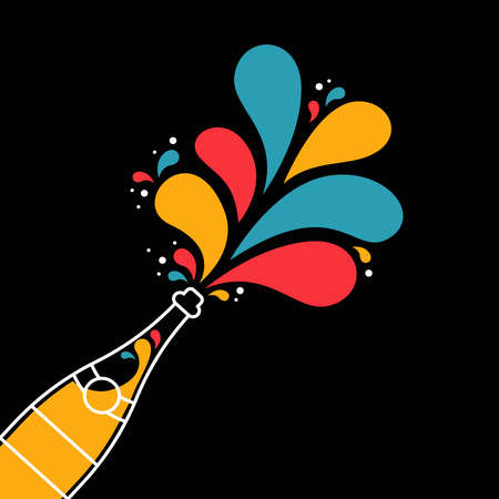 Illustration of isolated champagne bottle with colorful confetti. Illustration