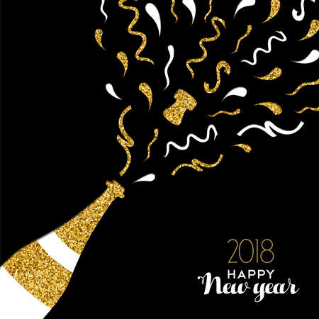 Happy new year 2018 gold champagne bottle with confetti made of golden glitter. Ilustracja