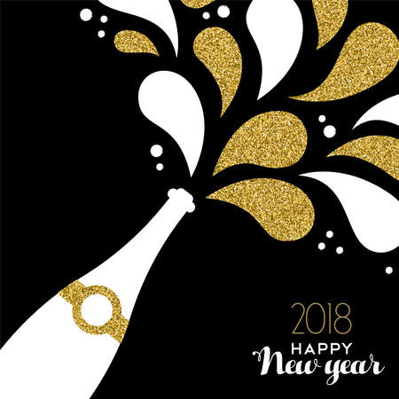 Happy New Year 2018 greeting card illustration of champagne party bottle with gold glitter splash. 版權商用圖片 - 91583021