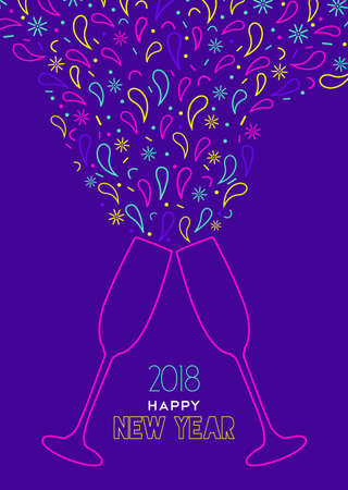 Happy New Year 2018 greeting card illustration of colorful party toast with color splash explosion in outline style. Illustration