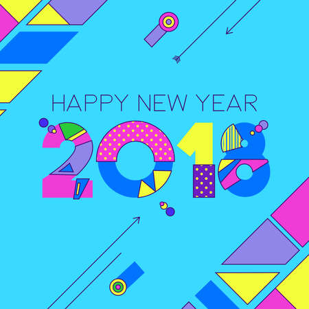 Happy New Year 2018 retro numbers greeting card with colorful 80s style geometric shapes and holiday quote. Illustration