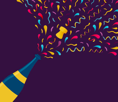 Happy New Year illustration of champagne bottle with colorful confetti. Illustration
