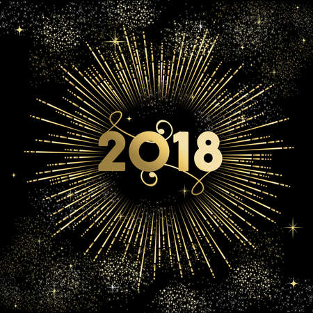 Happy New Year 2018 gold number typography greeting card with fireworks.