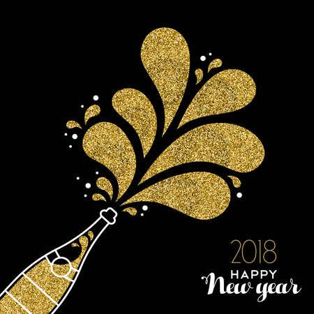 Szczęśliwego nowego roku 2018 uroczystość złotej butelki szampana wykonana ze złotego brokatu.