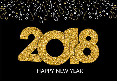 Happy New Year 2018 luxury holiday greeting card. Gold glitter number typography with firework decoration. Illustration
