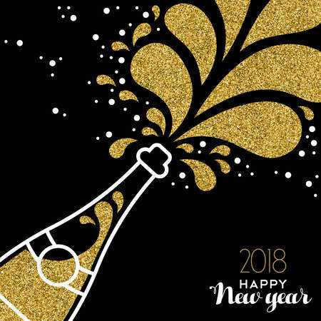 Happy New Year 2018 greeting card illustration of champagne party bottle with gold glitter splash.
