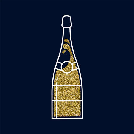 Champgne bottle illustration made of gold glitter texture, outline style party drink on isolated illustration.
