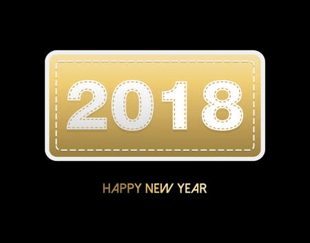Happy New Year 2018 gold embroidery patch greeting card, number typography design with holiday quote.