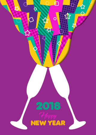 Happy New Year 2018 party toast with colorful 80s style splash explosion. Ideal for holiday greeting card or party invitation. Illustration