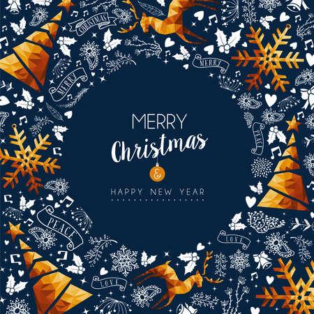 メリー クリスマス正月はモダンで豪華なゴールド カラー クリスマスの飾りと花輪の形での休日の装飾品あるグリーティング カード。