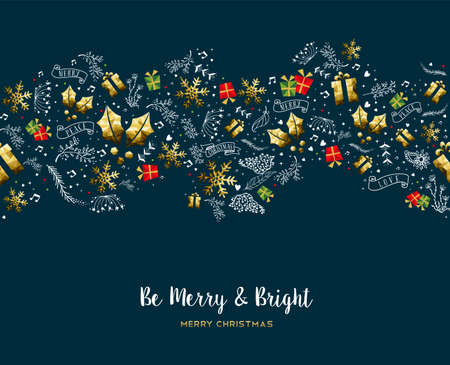 Merry Christmas pattern greeting card with text quote typography for new year holidays. Vettoriali