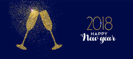Brindisi di celebrazione del bicchiere di champagne in oro felice nuovo anno 2018 realizzato con polvere glitter dorata realistica.