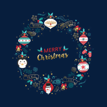 Merry Christmas modern cartoon greeting card with gold color Christmas decoration and holiday ornaments in wreath shape. Illustration
