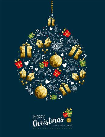 Decorazione moderna di lusso di colore dell'oro di nuovo anno di Buon Natale con gli ornamenti di festa nella forma della palla della bagattella di Natale. Archivio Fotografico - 92030116