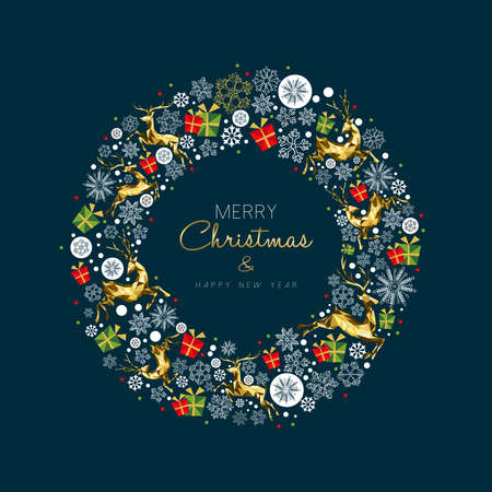 Merry Christmas New Year modern luxury greeting card with gold color Christmas decoration and holiday ornaments in wreath shape. Vectores