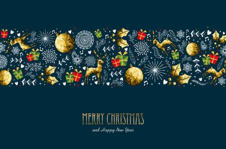 メリー クリスマス パターン グリーティング カードお正月本文引用タイポグラフィ。  イラスト・ベクター素材