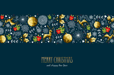 Merry Christmas pattern greeting card with text quote typography for new year holidays. Illustration